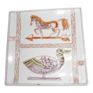 Italian Mid-Century Signed Ceramic Horse Plate
