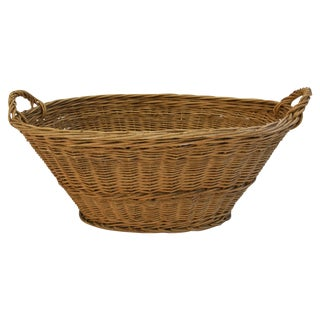 Antique Woven Oval French Market Basket