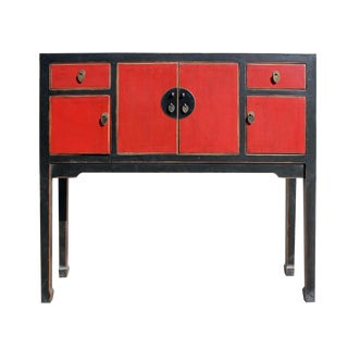Chinese Distressed Red Black Tall Narrow Console Table