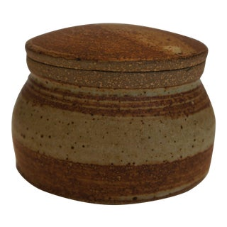 Mid Century Signed Studio Pottery Lidded Jar