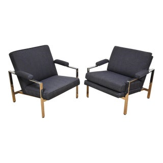 Pair of Lounge Chairs Milo Baughman Style