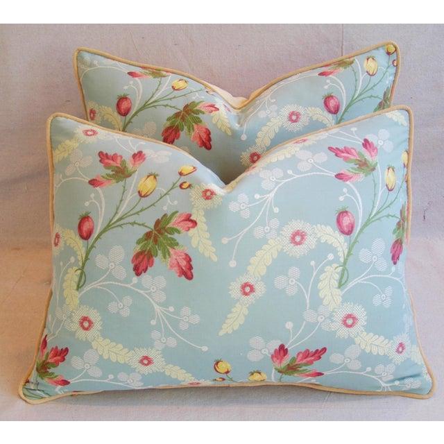Powder Blue Scalamandré Floral Brocade Pillows - A Pair - Image 8 of 11