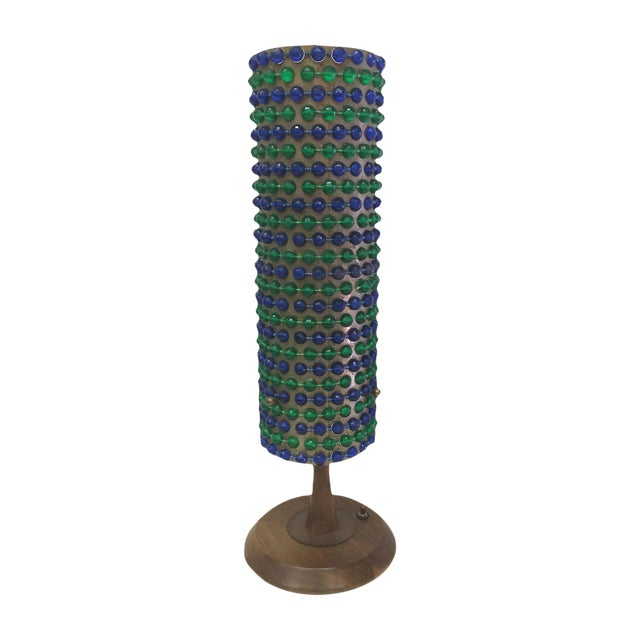 Image of Mid-Century Blue & Green Beaded Table Lamp
