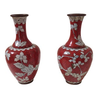 Red Cloisonne Vases - Pair