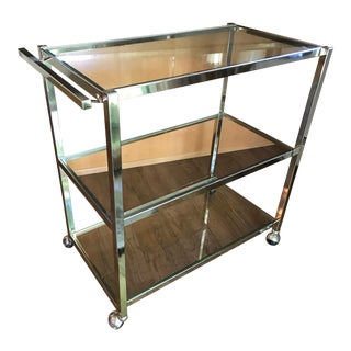 Vintage Chrome and Glass Three Shelf Bar Cart