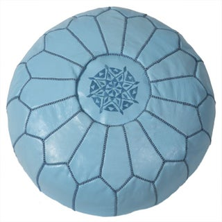 Embroidered Leather Pouf in Baby Blue