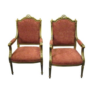 French Louis XVI Style Arm Chairs - Pair