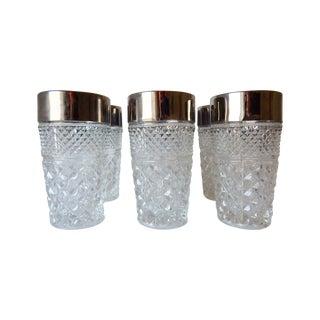 Vintage Diamond Cut Drinking Glasses - Set of 7