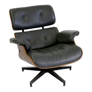 Dark Grey Leather & Rosewood Eames Style Lounge Chair