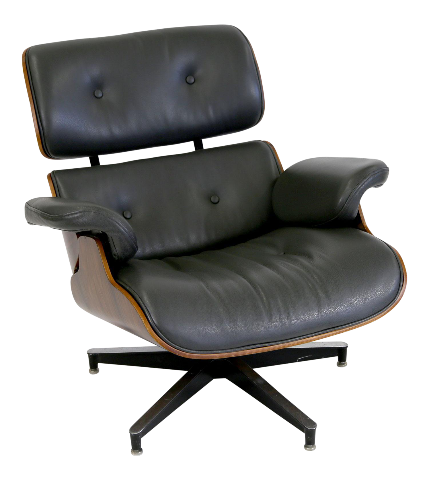 dark grey leather u0026 rosewood eames style lounge chair