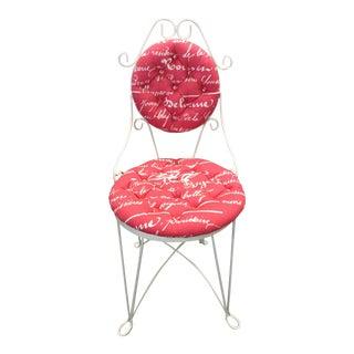 Pink & White Iron Vanity Chair