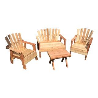 Natural Redwood Patio Set - Set of 4