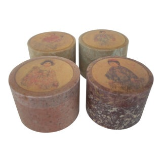 Carved Inlaid Stone Boxes - Set of 4