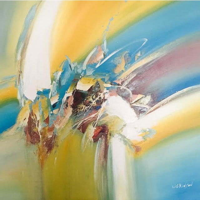 Image of Yellow & Blue Modern Abstract Painting