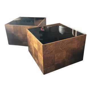 Mid-Century Cubed Side Tables - A Pair