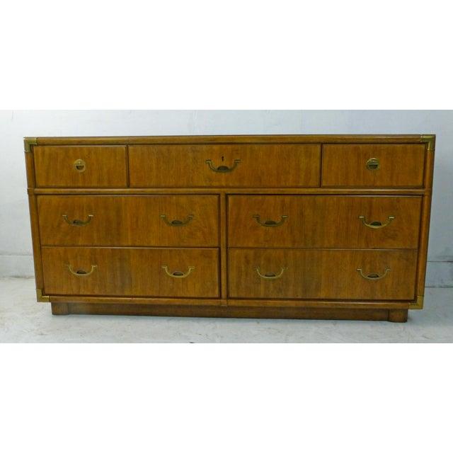 Drexel Campaign Walnut & Brass Dresser - Image 2 of 11