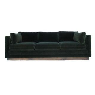 Henredon Green Velvet Tuxedo Sofa