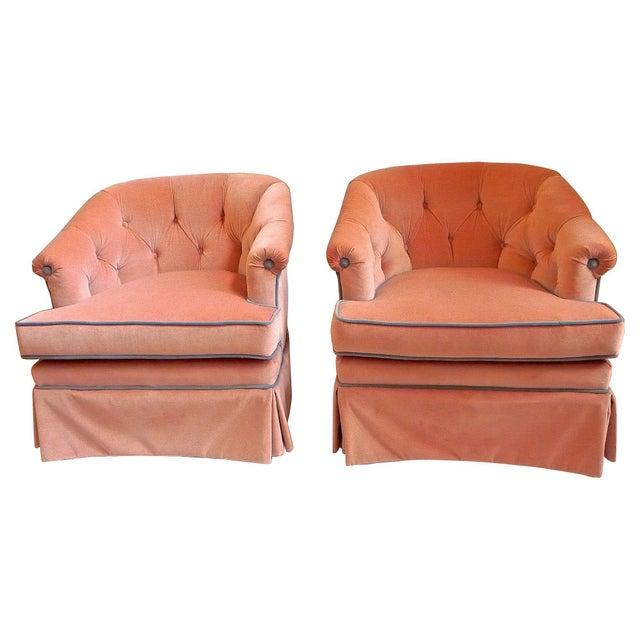 Image of 1950s Henredon Pink Velvet Club Chairs - A Pair