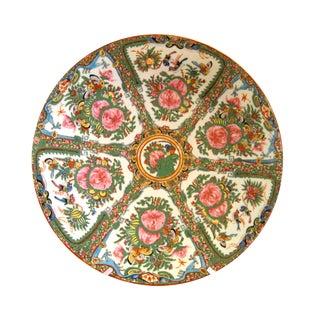 1930's Antique Rose Canton Dragon Motif Porcelain Charger Plate
