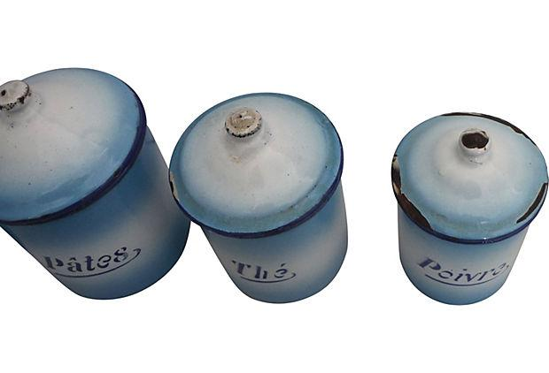 Enamel Kitchen Accessories: French Enamel Kitchen Canisters - Set Of 6