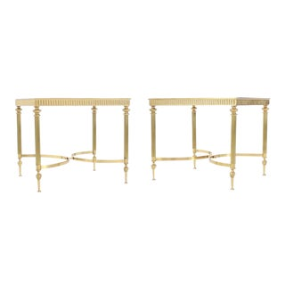 Pair of Brass Mirrored Frame Glass Top End Side Tables