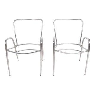 Pair of Sculptural Brown Jordan Aluminum Patio Chairs after Walter Lamb