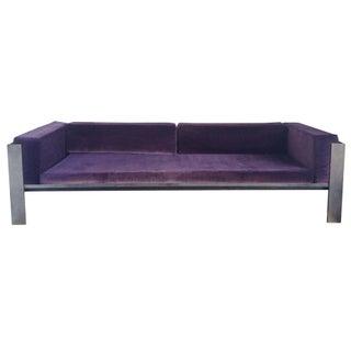 Banded Custom Steel Sofa & Ottoman