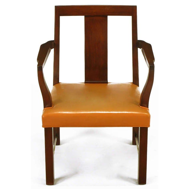 Eight Edward Wormley Mahogany, Leather and Brass Dining Chairs - Image 2 of 9