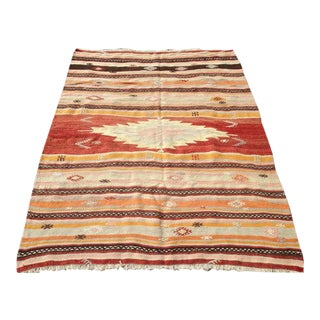 Antique Turkish Kilim Rug - 4′11″ × 5′11″