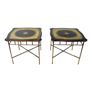 Pair of Hollywood Regency Style Faux Bamboo End Tables