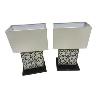 Wood Balinese Lamp with Square Shade - A Pair