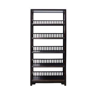 Distressed Black 5-Shelf Bookcase