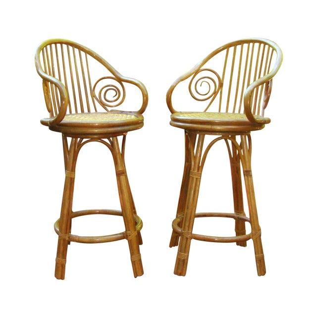 Mid century bent wood rattan bamboo bar stools chairish
