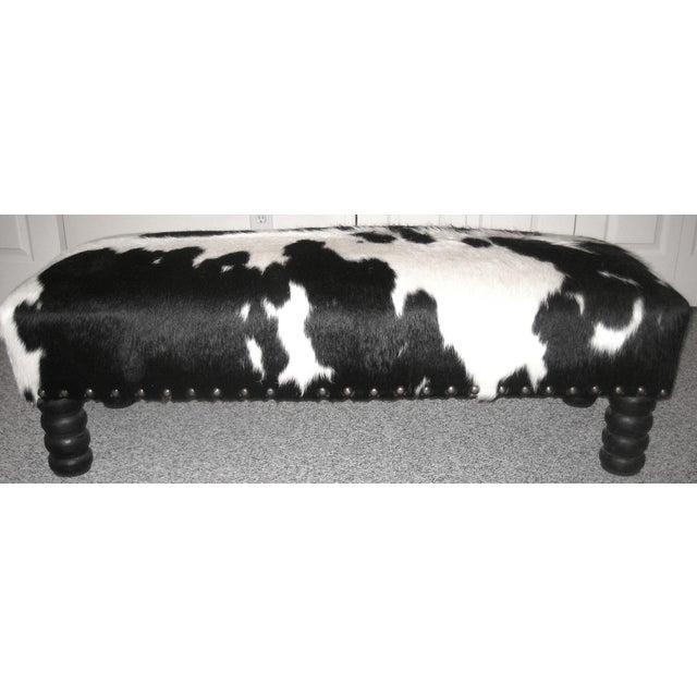 Black White Cowhide Coffee Table Ottoman Chairish