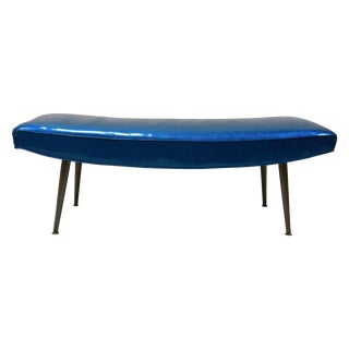 Mid-Century Modern Royal Blue Vinyl Bench