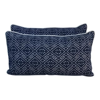 Navy & White Woven Pillows with Stars - A Pair
