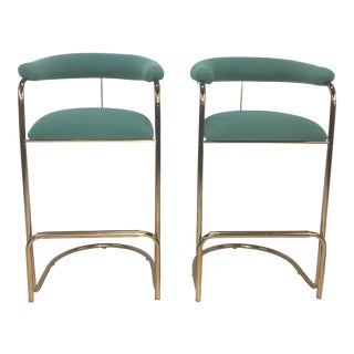 Anton Lorenz for Thonet Brass Cantilever Bar Stools - A Pair