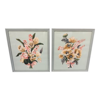 Vintage Matching Watercolor Flower Paintings - A Pair