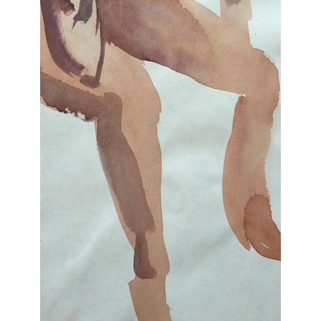 Image of Vintage 1970s Seated Nude Watercolor Painting