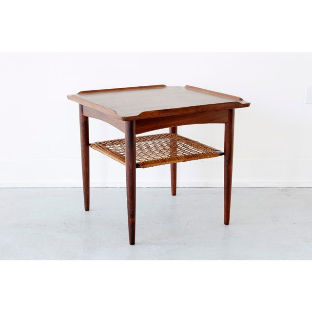 Image of Rosewood and Cane Side Table by Poul Jensen for Selig