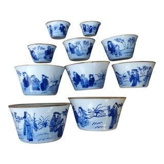 Graduating Chinese Porcelain Bowls - Set of 10