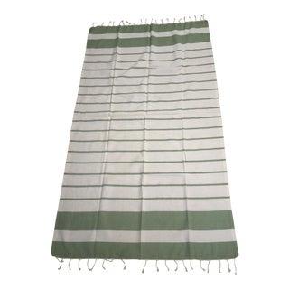 Turkish Green Striped Bath Towel