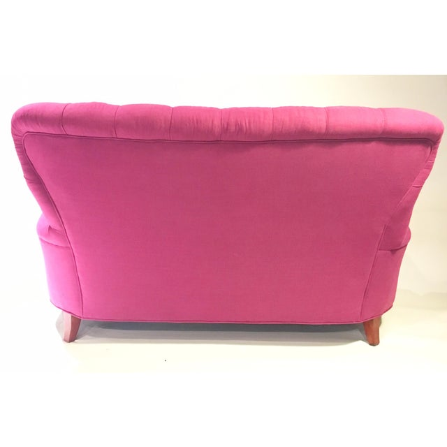 Vintage pink italian linen tufted sofa chairish for Pink sofa login