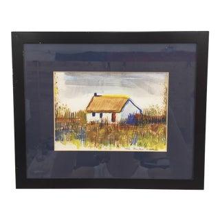 "Framed ""Casa Alem Tejo"" Watercolor Painting"