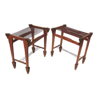 Folk Art Carved Wooden Benches - A Pair