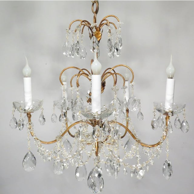 Vintage Chandelier Gold Fixture Dripping Crystals - Image 6 of 6