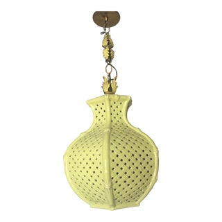 Chinoiserie Chartreuse Pierced Ceramic Faux Bamboo Pendant Lamp