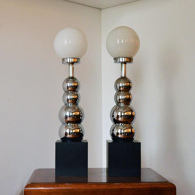 Image of 1970s Stacked Chrome Ball Lamps - A Pair