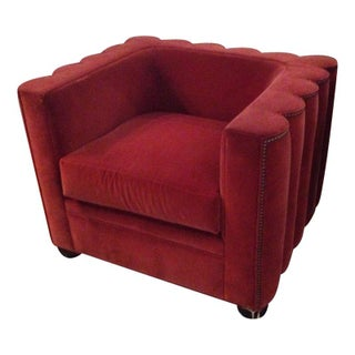 Red Velvet Deco Chair with Nail Head Trim