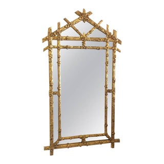 Vintage Hollywood Regency Floral Faux Bois Giltwood Wall Mirror